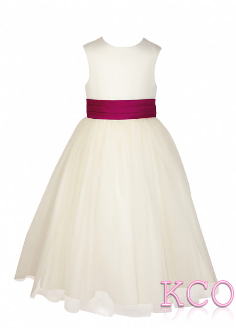 Style FJD922~ Pleat Sash Dress Ivory/Cerise